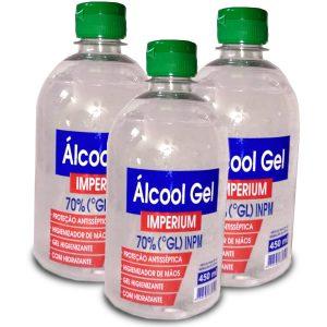 Álcool Gel 70% 450ml  ( Combo com 3 frascos – cada unidade : $ 8,99